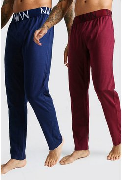Mens Navy 2 Pack Jersey Pyjama MAN Lounge Pants