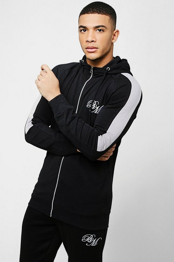 Black Muscle Fit BM Zip Through Hoodie With Arm Panels