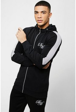 Mens Black Muscle Fit BM Zip Through Hoodie With Arm Panels