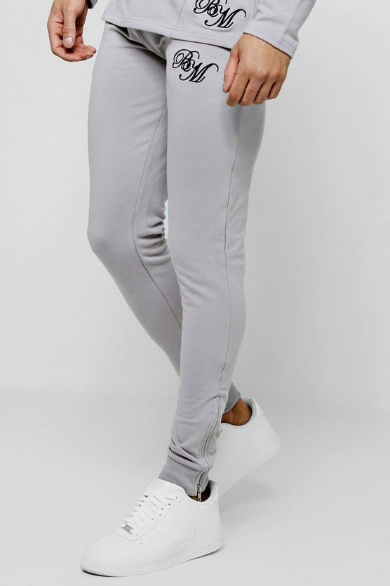 Silver Muscle Fit BM Tapered Skinny Joggers With Zips