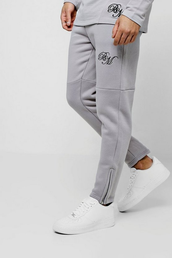 Silver Jersey Skinny BM Joggers With Zip Detail