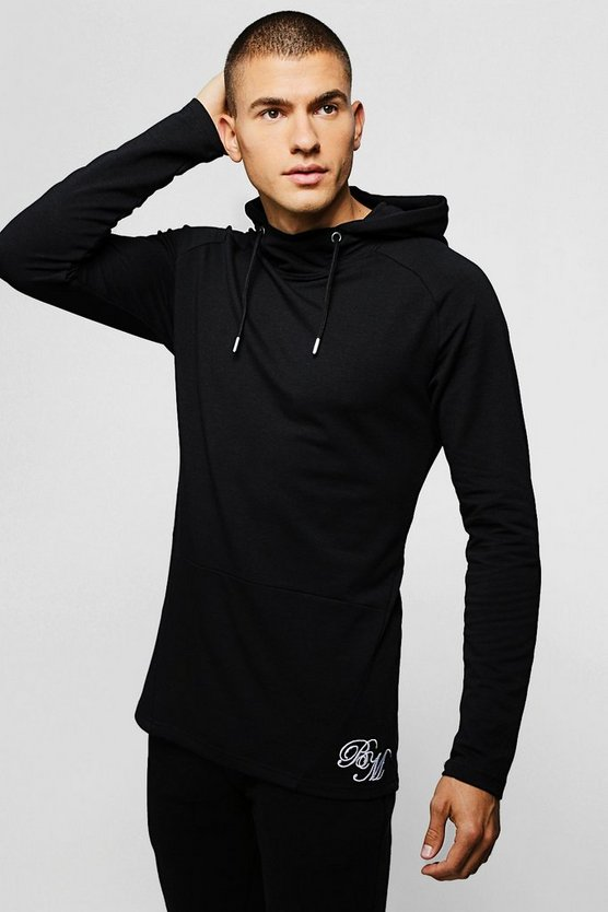 Black Muscle Fit Long Sleeve BM Hoodie