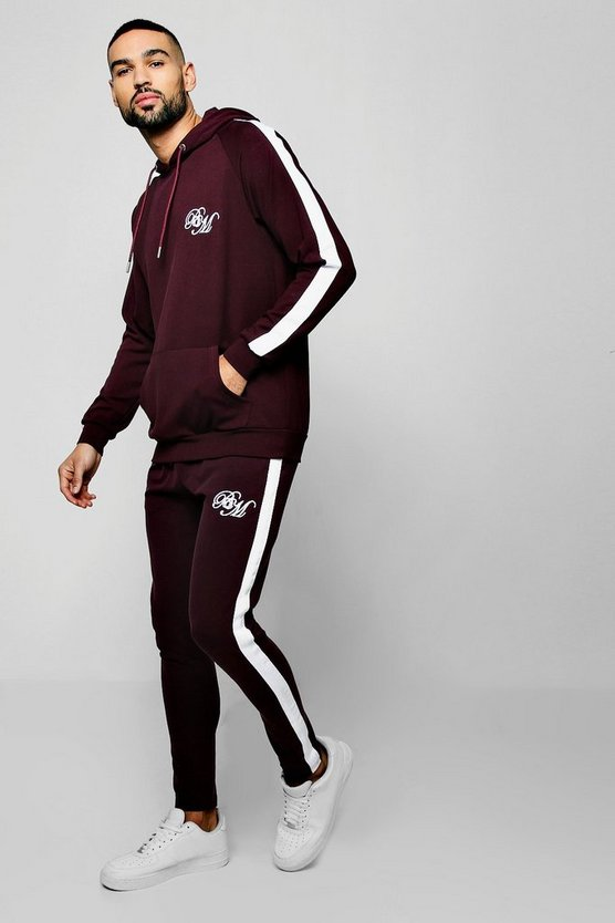 Wine Poly Hooded BM Tracksuit With Side Panels
