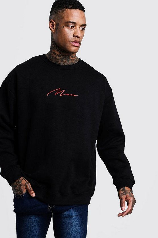 Black Oversized Red MAN Signature Sweater