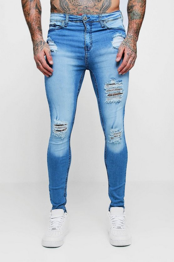 Washed blue Spray On Skinny Distressed Denim Jeans