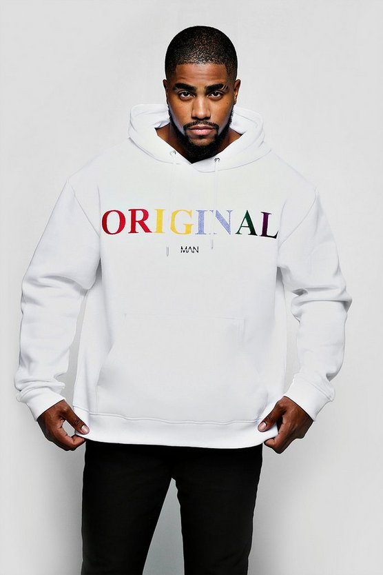 White Big & Tall Original MAN Embroidered Hoodie