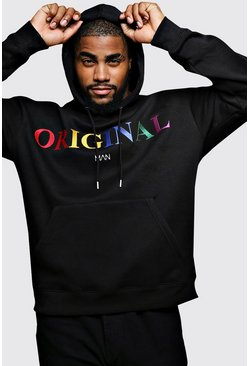 Black Big & Tall Original MAN Embroidered Hoodie