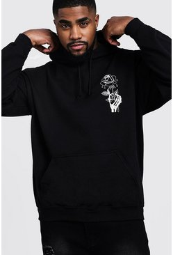 Mens Black Big & Tall Wilted Rose Print Hoodie