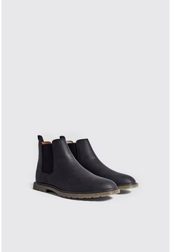 Mens Black Waxy Faux Leather Cleated Sole Chelsea Boot