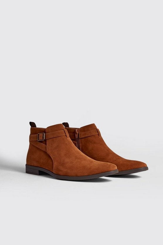 Tan Faux Suede Chelsea Boot With Strap