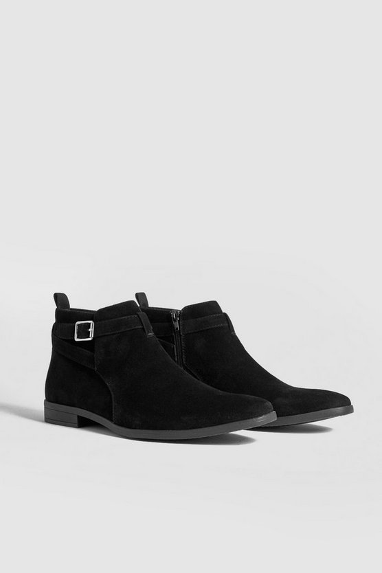 Black Faux Suede Chelsea Boot With Strap