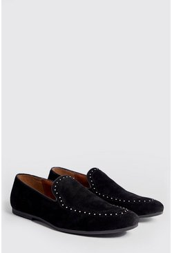 Mens Black Studded Top Line Faux Suede Loafer