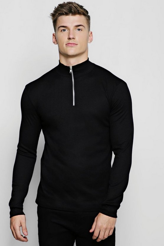 Black Half Zip Funnel Neck Ribbed Sweater