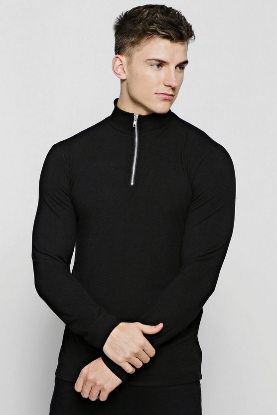 Mens Black Half Zip Funnel Neck Sweater