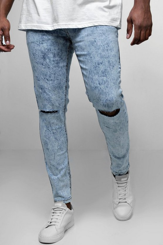 Light blue Big And Tall Acid Wash Ripped Skinny Fit Jeans