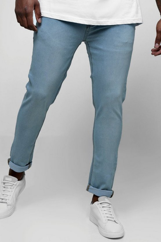 Pale blue Big And Tall Skinny Fit Jeans With Turn Up
