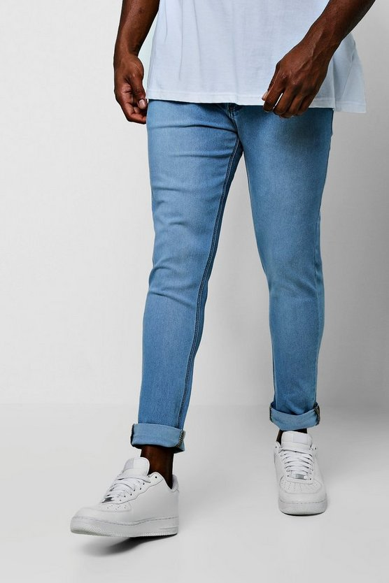 Vintage wash Big And Tall Skinny Fit Jeans With Turn Up