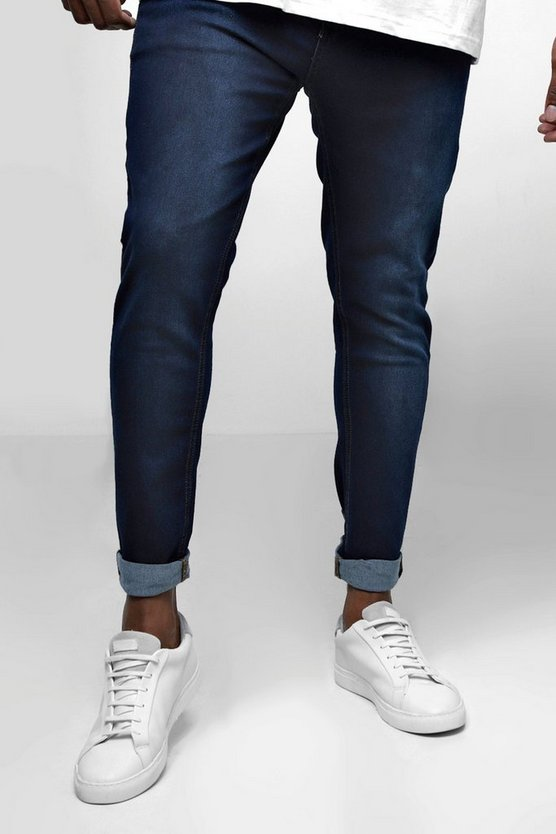 Navy Big And Tall Skinny Fit Jeans With Turn Up