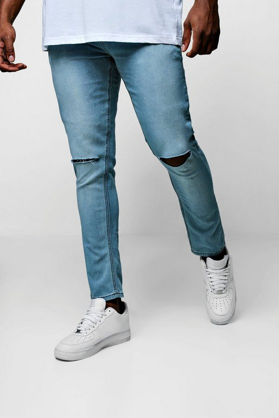 Mens Pale blue Big And Tall Ripped Knee Skinny Fit Jeans