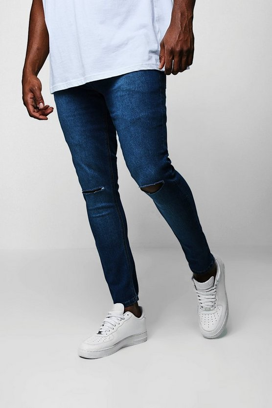 Mid blue Big And Tall Ripped Knee Skinny Fit Jeans