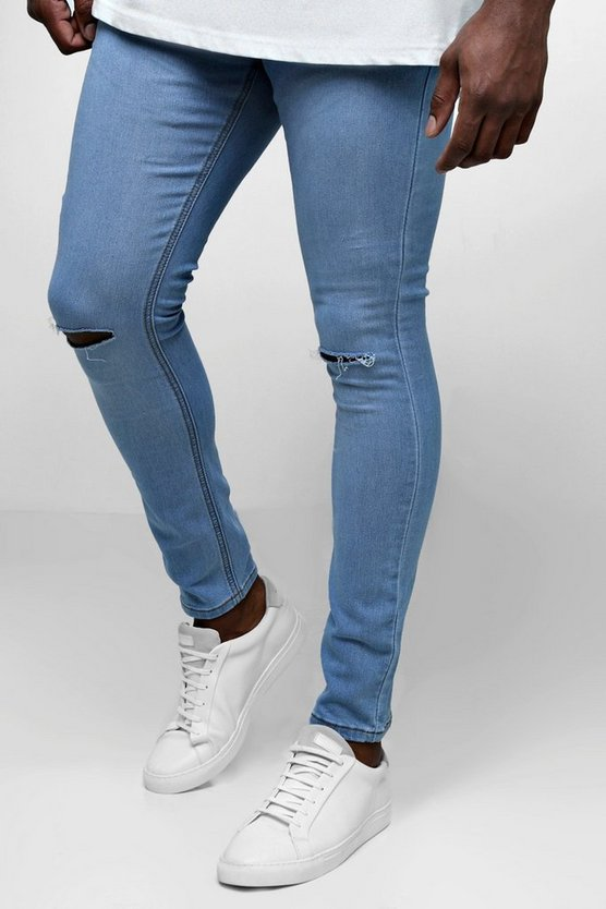 Vintage wash Big And Tall Ripped Knee Skinny Fit Jeans