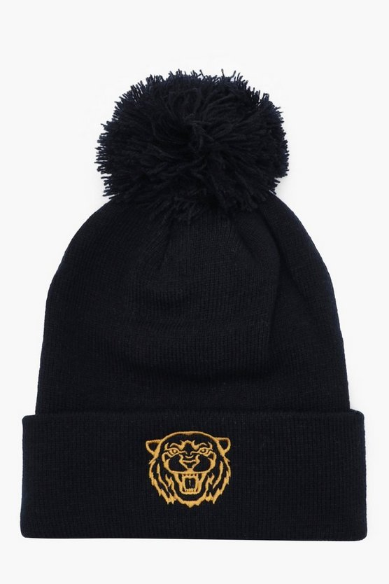Black Gold Tiger Embroidered Beanie