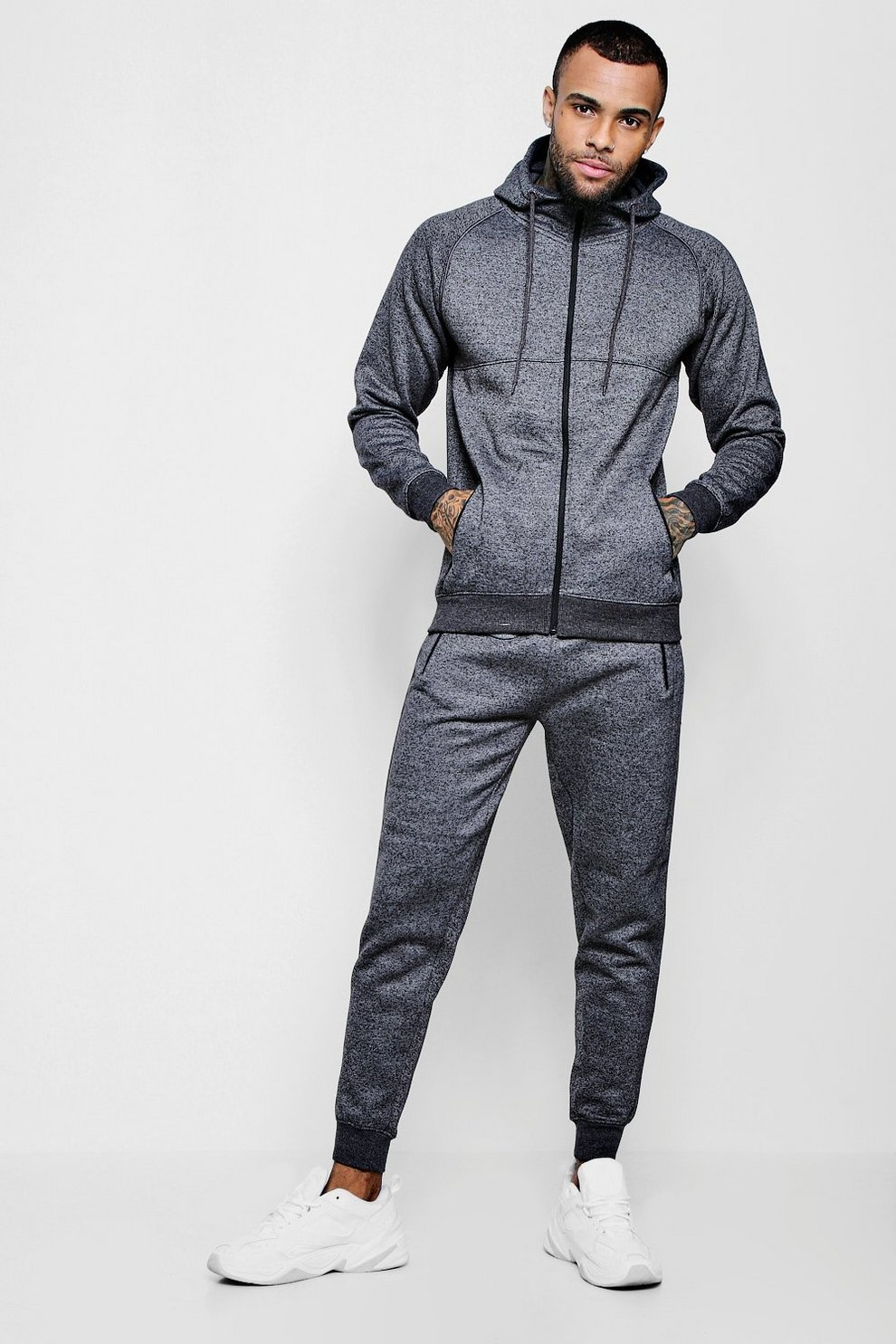 360015e855c2 Mens Charcoal Fleece Zip Hooded Tracksuit With Piping