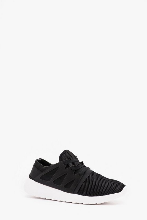 Black Mesh Sneaker With Side Detail