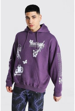 Lilac Oversized Graffiti Worldwide Sleeve Hoodie