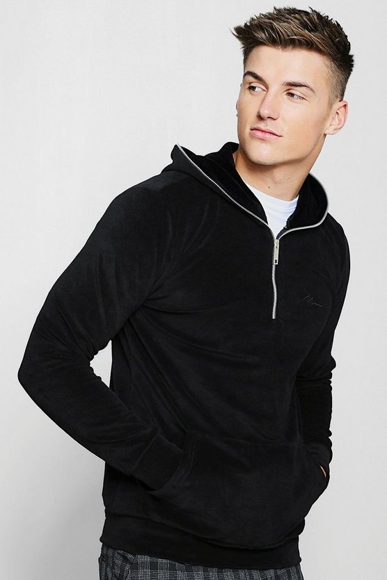 Black MAN Signature Velour Hoodie With Zip Placket