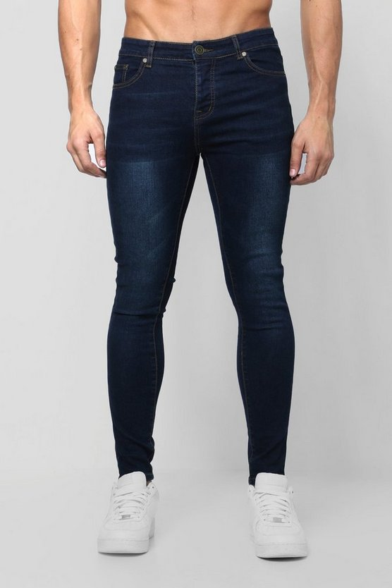 Spray On Skinny Jeans in marineblauer Waschung, Marineblau, Herren