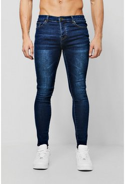 Spray On Skinny Jeans in Dunkelblau, Herren