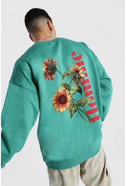Khaki Oversized Sunflower Homme Print Sweatshirt