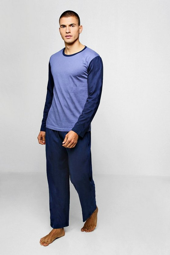 Blue Mens Colour Block Long Sleeve PJ Set