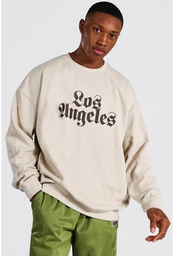 Sand Oversized Los Angeles Print Sweatshirt