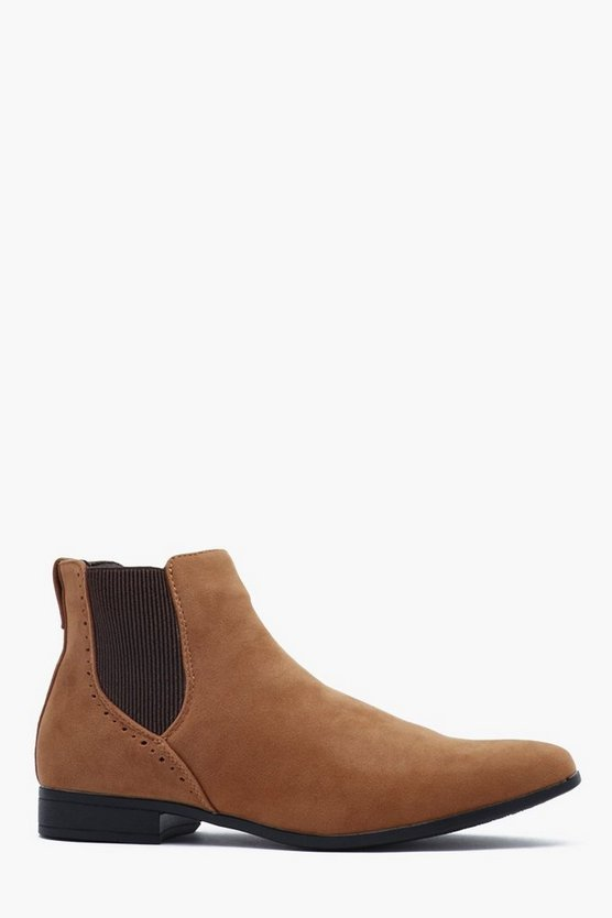 Tan Faux Suede Chelsea Boot