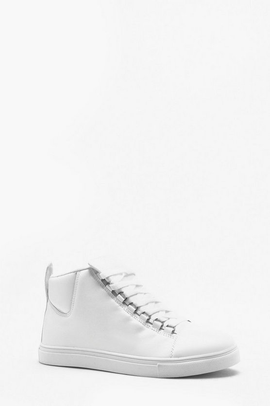 White Faux Leather Eyelet Detail Hi Top
