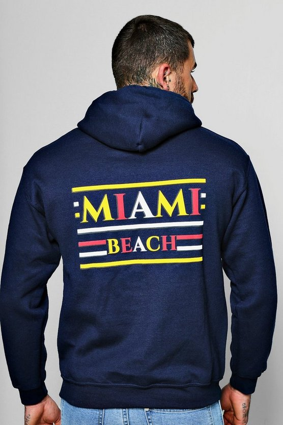 Navy Miami Beach Front And Back Print Hoodie