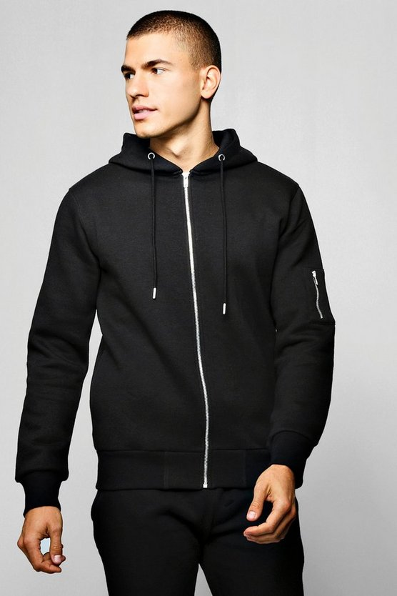 Black MA1 Pocket Zip Through Hoodie