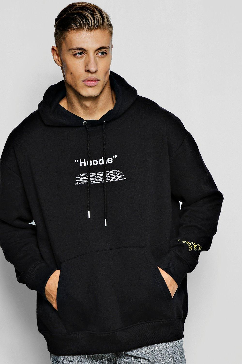 biggest discount lowest price outlet for sale Oversized Hoodie With Sleeve Print - boohooMAN
