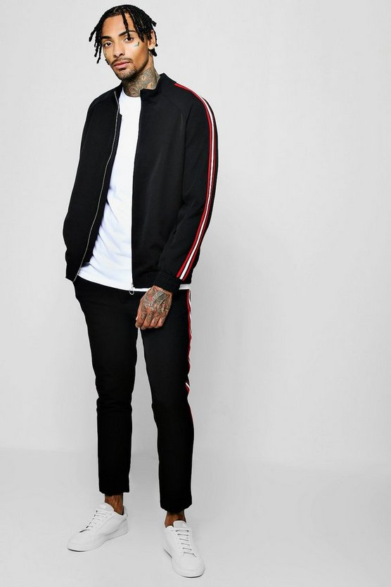 Crepe Smart Bomber Tracksuit With Tapings