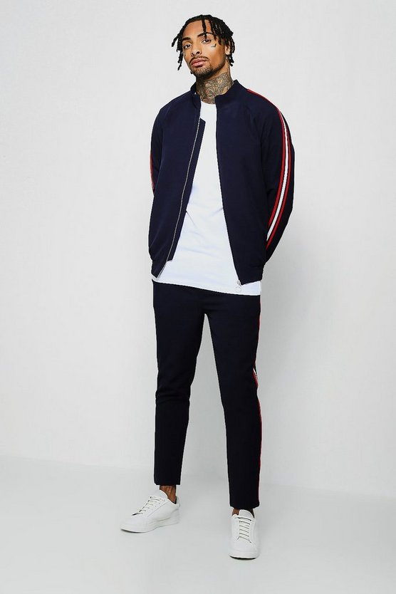 Navy Crepe Smart Bomber Tracksuit With Taping