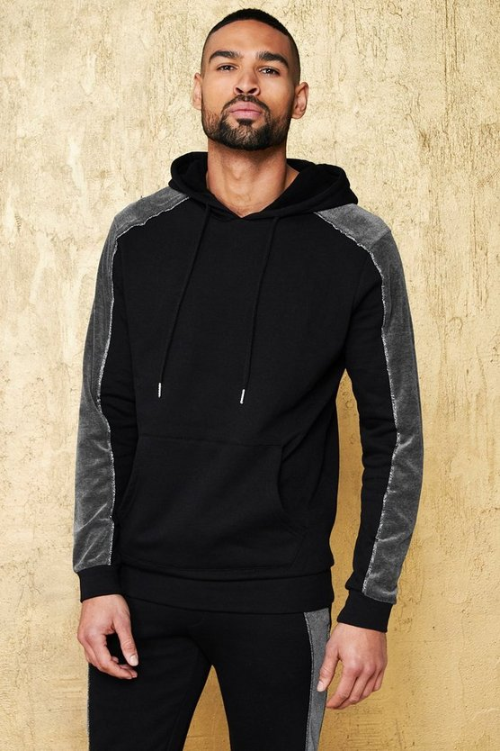 Black Party Over The Head Hoodie With Velour Piping