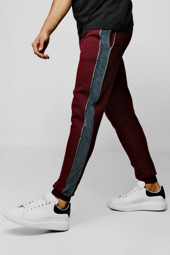 Burgundy Skinny Party Jogger With Velour Side Tape