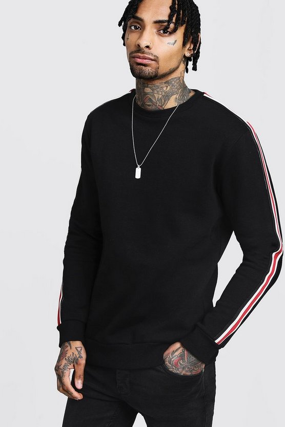 Mens Black Side Tape Detail Sweatshirt