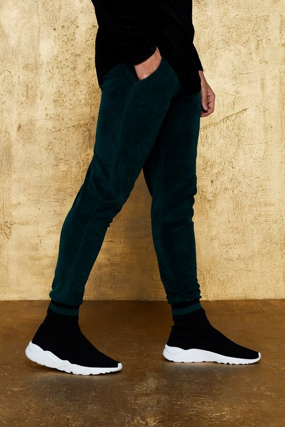 Green Velour Jogger With Sports Rib Knit