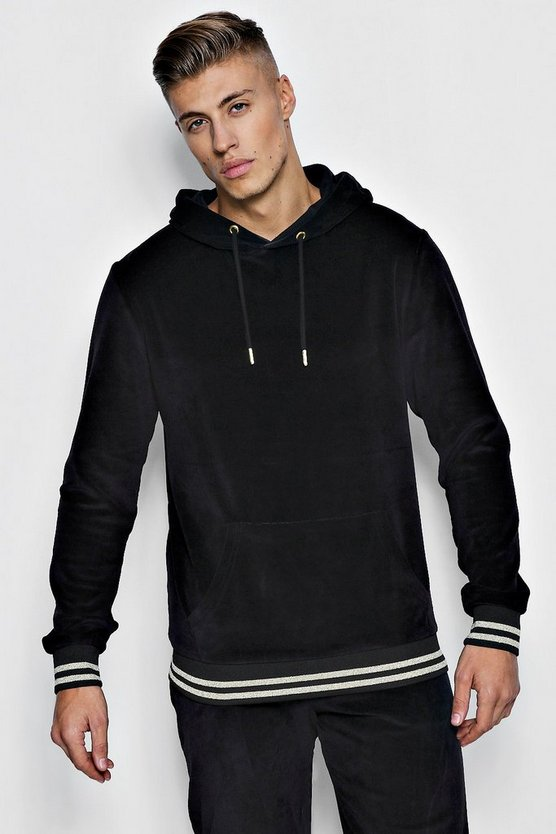 Black Velour Oversized Hoodie With Gold Rib