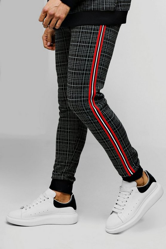 Black Skinny Fit Check Tapered Jogger
