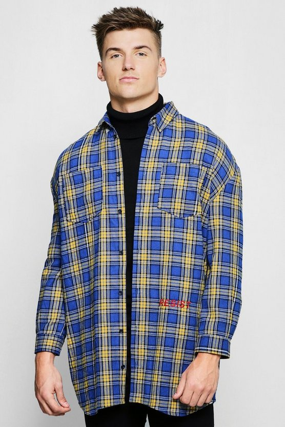 Blue Check Oversized Longline Shirt