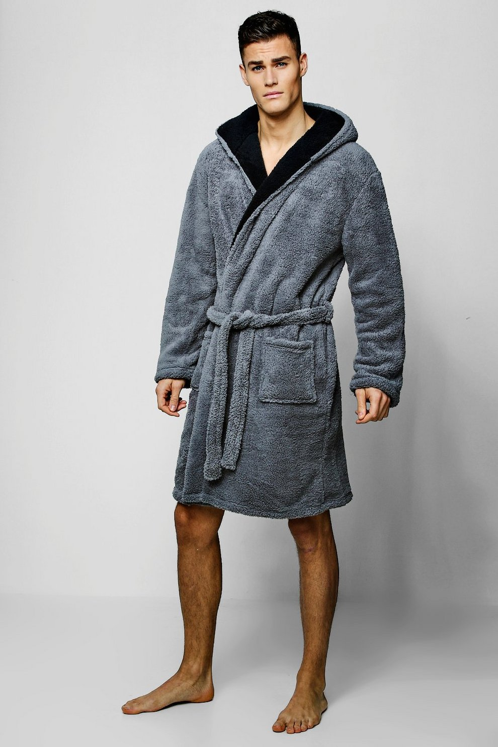 a37c361be224 Mens Charcoal Mens Shaggy Fleece Robe With Contrast Lining